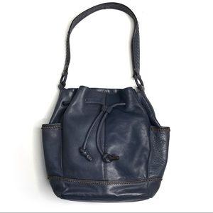 Banana Republic Blue Leather Bucket Shoulder Bag